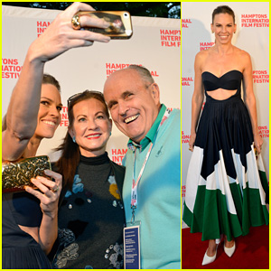 Hilary Swank Takes Selfie with Former NY Mayor Rudy Giuliani at 'Homesman' Premiere!