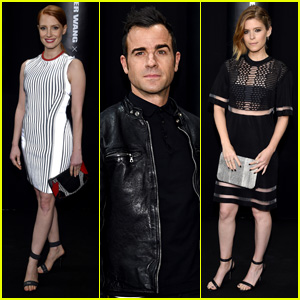 Jessica Chastain & Justin Theroux Sit Front Row at Alexander Wang X H&M Launch