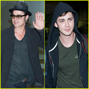 Brad Pitt & Logan Lerman Arrive in South Korea for 'Fury'