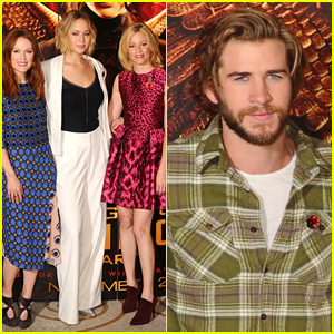 Jennifer Lawrence & Liam Hemsworth Pose with Their 'Hunger Games: Mockingjay' Co-Stars at London Photo Call