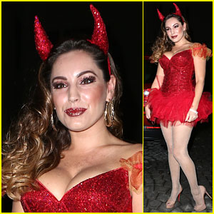 Kelly Brook Shows Off Her Horns for Halloween Party