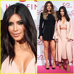 Kim & Khloe Kardashian Think Pink for Hairfinity Hair Vitamins Launch Party