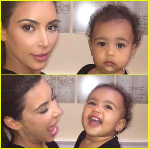 Kim Kardashian Helps North West Practice Her Paparazzi Face