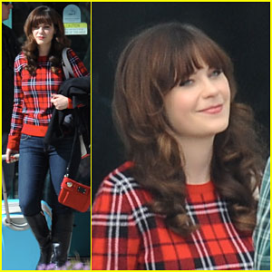 Zooey Deschanel Gets Ready for Christmas While Filming 'New Girl'