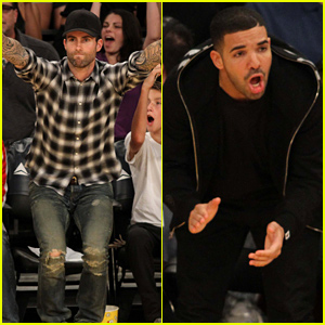 Adam Levine & Drake Were Super Invested in the Lakers vs. Raptors Game Last Night