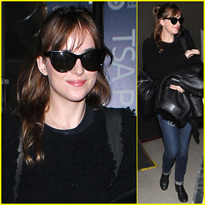 Dakota Johnson Rocks a Few Shades of Black Arriving in L.A.