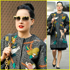 Dita Von Teese Wears a Forest Full of Woodland Creatures on Her Jacket