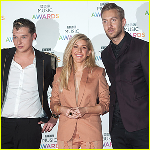 Ellie Goulding Looks Happy to Be Sandwiched By Calvin Harris & John Newman at BBC Music Awards 2014