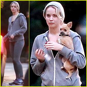 Jennifer Lawrence Visits Director Pal Gabe Polsky at Home