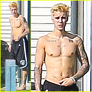 Justin Bieber Goes Shirtless at New Beverly Hills Mansion