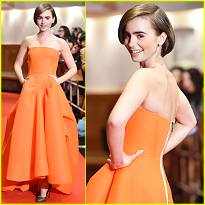 Lily Collins Pulls Off Neon Orange at 'Love, Rosie' Tokyo Premiere
