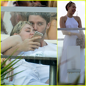 Miley Cyrus Gets Sweet Kiss From Boyfriend Patrick Schwarzenegger!