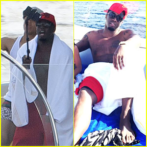 "Sean ""Diddy"" Combs Uses a Selfie Stick on His St. Barts Vacation"