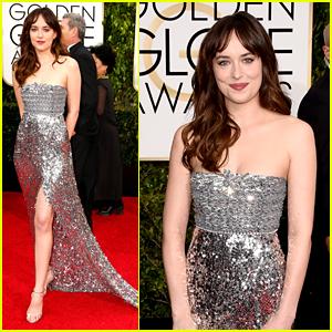 Dakota Johnson Trades 'Grey' for Silver at Golden Globes 2015