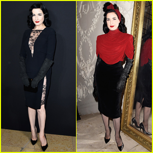 Dita Von Teese Glams Up Paris Fashion Week at Elie Saab & Jean Paul Gaultier Shows!