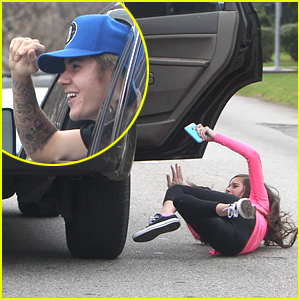 Justin Bieber Fan Falls Out of Car While Chasing the Singer