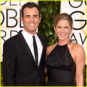 Justin Theroux Looks Beyond Thrilled to Support Jennifer Aniston on Golden Globes 2015 Red Carpet