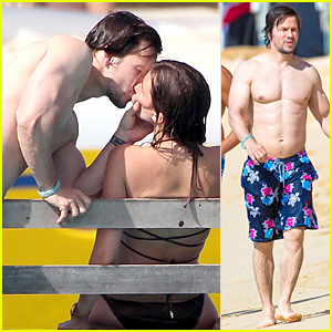 Shirtless Mark Wahlberg & Rhea Durham Kiss Passionately in Barbados