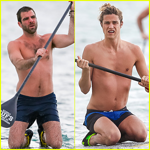 Zachary Quinto & His Model Boyfriend Miles McMillan Go Shirtless & Paddleboard in Hawaii!