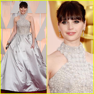 Felicity Jones Shimmers in Silver at Oscars 2015
