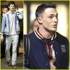 Grant Gustin, Colton Haynes, & Danielle Panabaker Are 'Flash' Pack at Vancouver Airport
