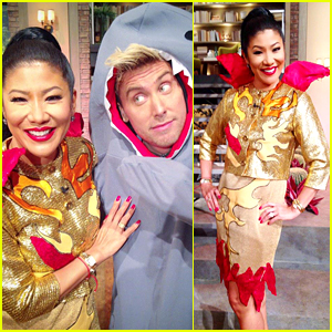 Julie Chen Dresses Up in Katy Perry's Fiery Super Bowl Outfit!
