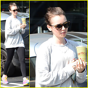 Lily Collins Sips On a Healthy Smoothie on Her Day Off