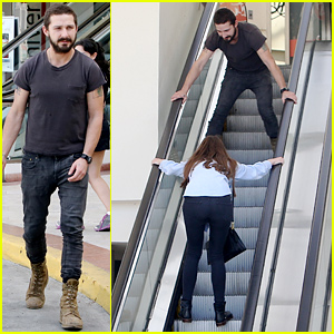 Shia LaBeouf & Mia Goth Horse Around on an Escalator