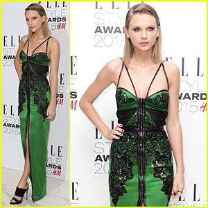 Taylor Swift Rocks Sleek Green Look to Elle Style Awards 2015