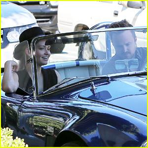 Aaron Paul & Wife Lauren Cruise Around L.A. in Vintage Car