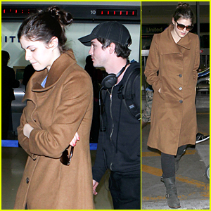 Alexandra Daddario & Logan Lerman Land at LAX Airport Together After Her 29th Birthday!
