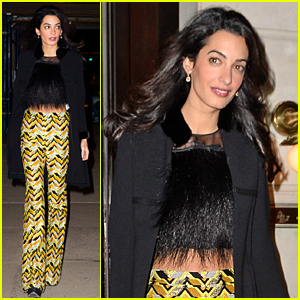 Amal Clooney Shows a Hint of Tummy in Crop Top