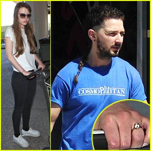 Shia LaBeouf's Girlfriend Mia Goth Hits LAX Wearing a Diamond Ring Again Amid Engagement Rumors