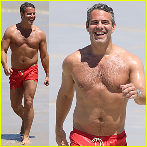 Shirtless Andy Cohen Takes a Splash in Miami Beach