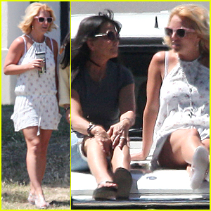 Britney Spears Uses Car As Amazing Seats For Jayden James' Soccer Game