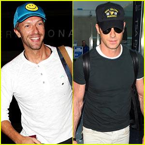 Chris Martin & Justin Theroux Both Look Super Hot at LAX