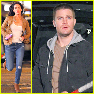 Megan Fox & Stephen Amell Shoot Night Scenes For 'Teenage Mutant Ninja Turtles 2'