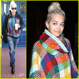 Rita Ora Wears Plaid Poncho For Sushi Date Night