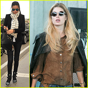 Adriana Lima & Doutzen Kroes Jet Out of Nice Following Cannes Film Festival