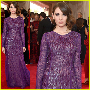 Alison Brie Wears Sheer & Lacy Purple Dress at Met Gala 2015