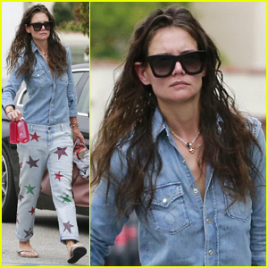 Katie Holmes rocks a pair of jeans with stars all over them while ...