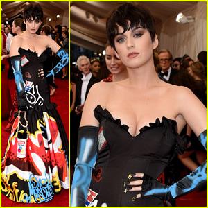 Katy Perry Shows Off Black Pixie Wig at Met Gala 2015