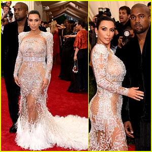 Kim Kardashian Wears Sheer Dress at Met Gala 2015 with Kanye West!
