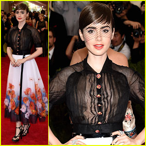 Lily Collins Is A Beauty in a Birdcage Veil for MET Gala 2015