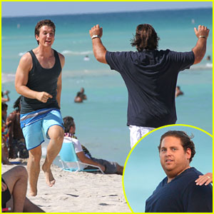 Miles Teller Gets Kiss From Keleigh Sperry After Filming 'Arms And The Dudes' With Jonah Hill