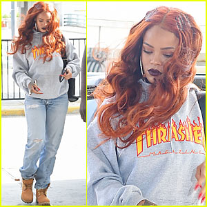 Rihanna Wears Thrasher Skateboard Magazine Support