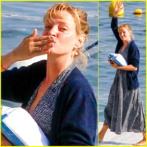 Uma Thurman Blows Kisses to Fans at Cannes