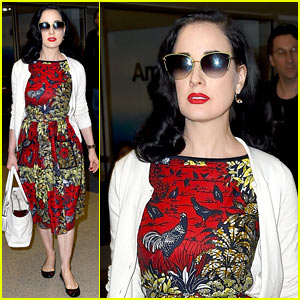 Dita Von Teese Returns to LAX in Same Dress She Left Wearing!