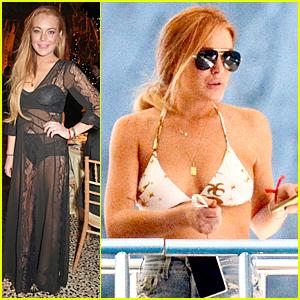 Lindsay Lohan Flashes Black Bra & Underwear at FIA Formula Dinner