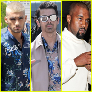 Zayn Malik & Joe Jonas Sit Front Row With Kanye West at 'Louis Vuitton' Menswear Show in Paris